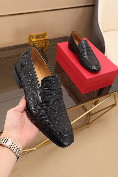 3 color choose brand new with box 39-44eu 2019 2020 spring autumn mens black white brown Genuine leather slip on dress Loafers