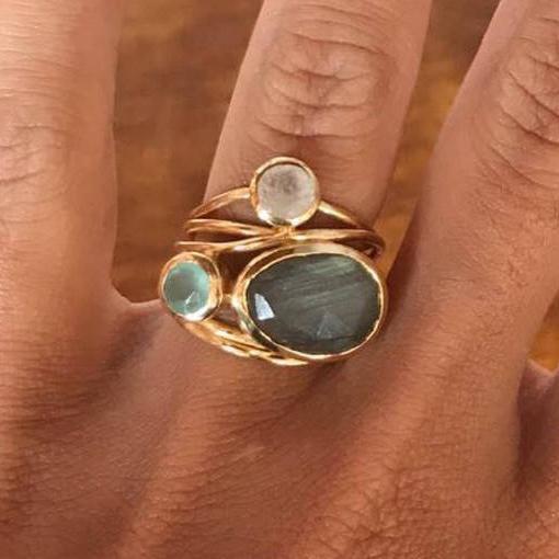 Nette weibliche große kristall oval mondstein ring mode gelbgold verlobungsring vintage party hochzeit ringe für frauen
