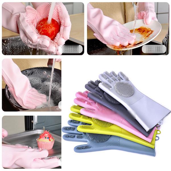 7 colores Nueva actualización Cepillo de lavado mágico Guante de silicona Resuable Fregadora doméstica Anti escaldadura Guantes para lavar platos Herramientas de limpieza de cocina C