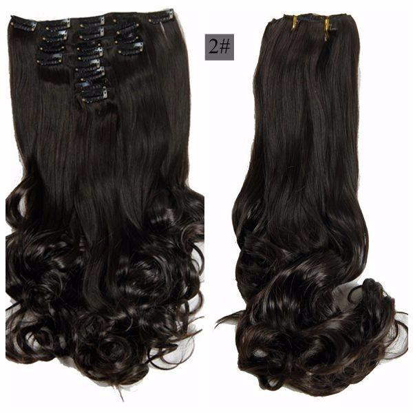 """2019 For Braiding 50cm 8pcs/set 20"""" Heat Resistant Synthetic Clip Hairpieces Wavy Synthetic Clip On Hair Extensions"""
