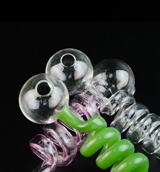 Изогнутые трубы Спиральные стекла пирекс Кальяны Цветные пробки аромалампах водопроводы Recycler нефтяные вышки Стекло Балансир Honeybird 6 дюймов 7 цветов Труба