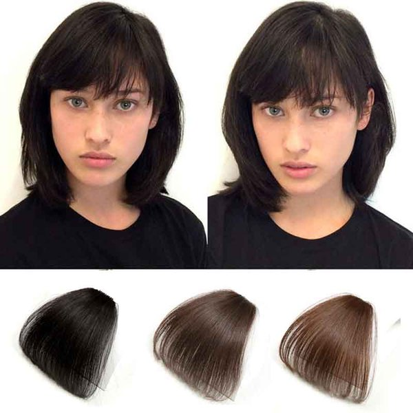 Human Hair Flat Bangs Air Bang Without Temple Clip In Neat Bangs Natural Black One Piece Straight Fringe Hair Clip Hairstyles For Long Wavy Hair With