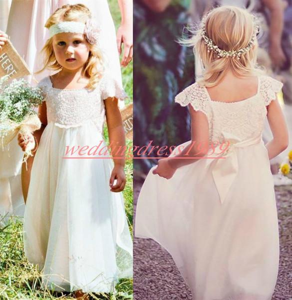 Garten Chiffon Spitze Mädchen Pageant Kleid Günstige Mädchen Geburtstag Kleider Kinder Formelle Party Tragen Blume Mädchen Kleider Weiß Erstkommunion Kleid
