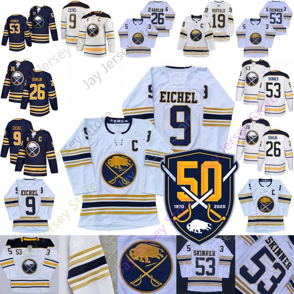 Tüm Dikişli Buffalo Süvarileri 50 Yama golded Jersey Jack Eichel Jeff Skinner Rasmus Dahlin Deplasman Donanma Beyaz Blank Yetişkin Erkekler Boyut S-3XL