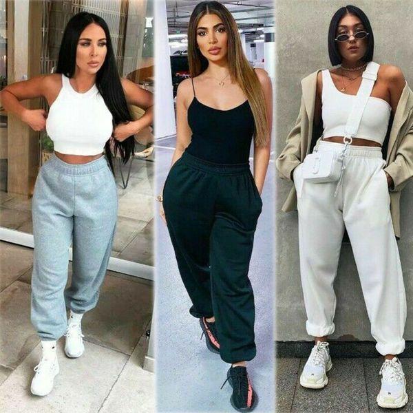 США STOCK женские повседневные Широкие ноги длинные брюки брюки S-XL OL офис Сыпучие Stretch