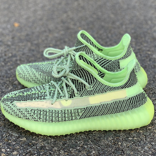Kanye West V2 tênis de corrida Yeezreel respirável Preto Verde Fluorescente Babysbreath treinadores Novas Com Box