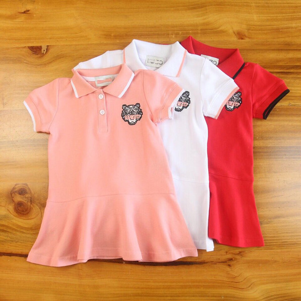 Toddler Girls Korean Style Polo Dresses Baby A-Line Dress Lovely tiger Clothes Design Children Pink Dress Tiny Cotton 90-150CM