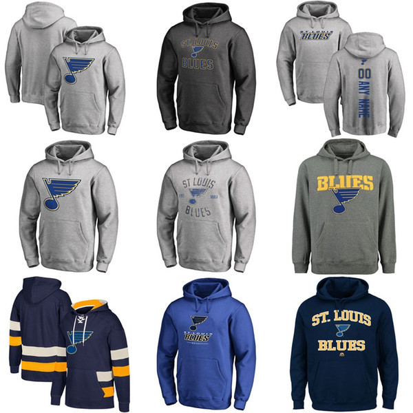 Heißer Verkauf Benutzerdefinierte Mens Womens Kinder St. Louis Blues Günstige Beste Qualität Stickerei Logo Grau Marineblau Eishockey Hoodies mit Jeder NameAny