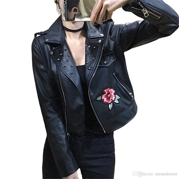 many choices of limited price the sale of shoes 2018 New 2018 Women Faux Leather Jacket Rivet Punk Leather Outwear Black  Embroidery Rose Biker Coat Moto Jacket NG 019 From Eleganter, $107.64 | ...