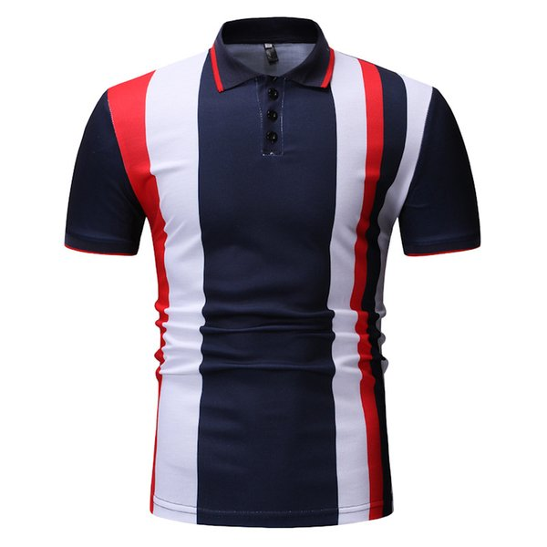 2019 New Mens England Style Short Sleeve Cotton Slim Fit Striped Printed Polo Shirts Contrast Color Polos Fashion Urban Clothing