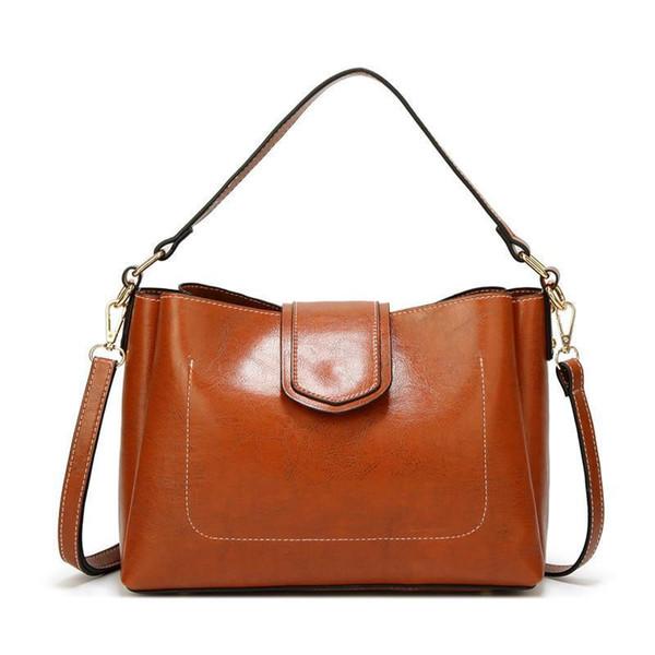 Pop2019 Big Women Bag Handbag Wax Oil Leather Large Tote Bag Solid Color Female Shoulder Bags Black Brown Office Lady Handbags