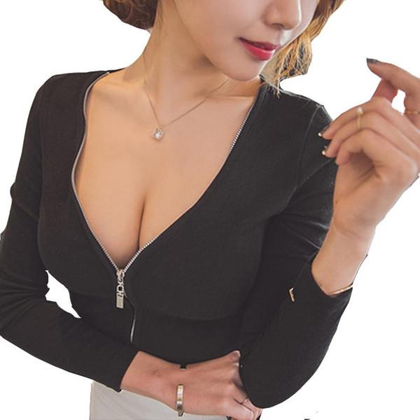 Seksi V Yaka Ön Fermuar Tişörtlü Kadınlar Marka Mahsul Uzun Kollu Tee Casual Slim Fit Katı Temel Gömlek blusa Yüksek, Tops