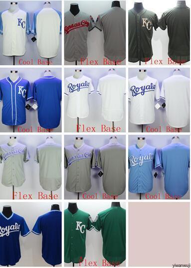 Toptan sıcak satış Royals boş Flexbase Coolbase beyaz gri siyah yeşil Beyzbol Formalar erkekler Gömlek Dikişli baz En Kaliteli!
