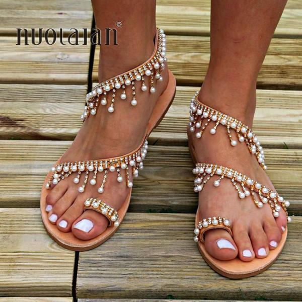 Dames Chaîne Perle Femme Femmes Pantoufles Sandale Été Mariage Sandales De Chaussure Plat Acheter Chaussures OZXiPuk