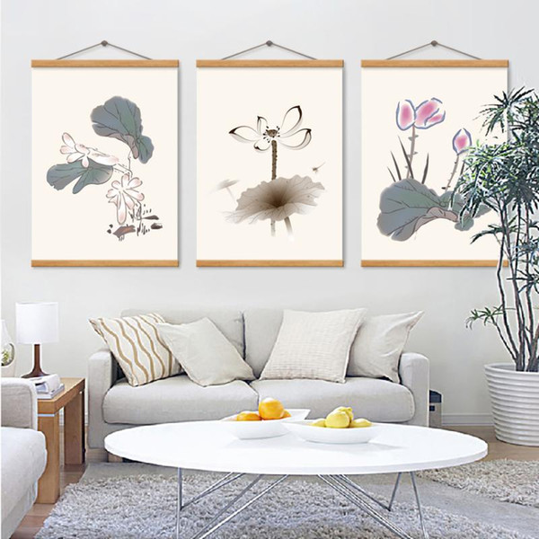 Basit Retro Stil Suluboya Lotus Flower Poster Salon Ev Dekorasyon Wall Art Pictures 3 parça Boyama Tuval Baskı