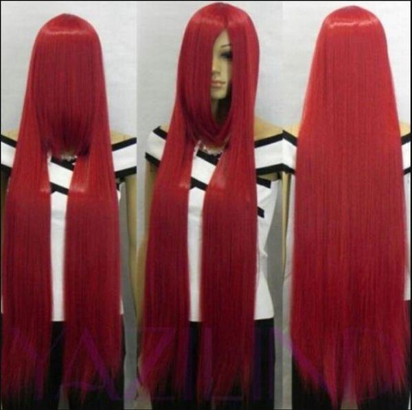 Perücke 100 cm frauen lange weinrot gerade cosplay haar perücke vollsynthetische mode perücke 2014 neu