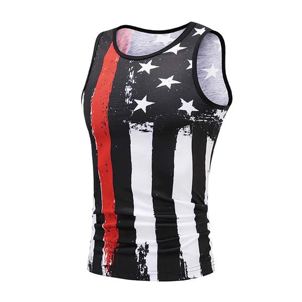 Men's Vest tank top Summer USA Flag 3D Print Slim Fit Sleeveless Singlet canotta bodybuilding Top fitness homme gym clothingW410