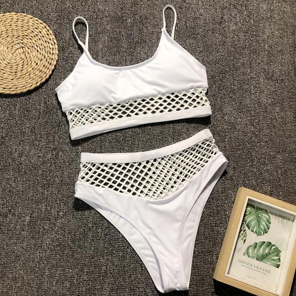 White Mesh Bikini High Waisted Push Up Swimsuit Sport Swimwear Hot Biquini Brazilian Padded Swimming Suit Women Mesh Swimsuit