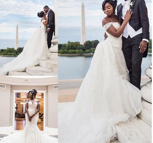 Romantic African Wedding Dresses With Detachable Skirt Off the shoulder with Sleeves Mermaid Lace Designer Wedding Dress Bridal Gowns Cheap