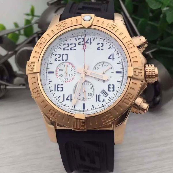 Reliable Quartz BR 1884 Mens Watches Chronomat Chronograph Movement Chronometer 48MM Watch White Dial Yellow Gold Case Wristwatches