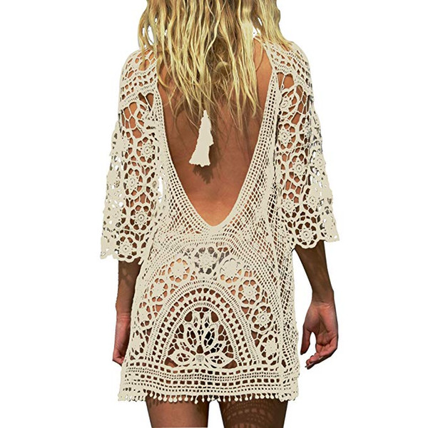 Womens Sexy Backless Long Sleeve Bathing Suit Cover Up Floral Crochet Lace Beach Bikini Swimsuit Dress