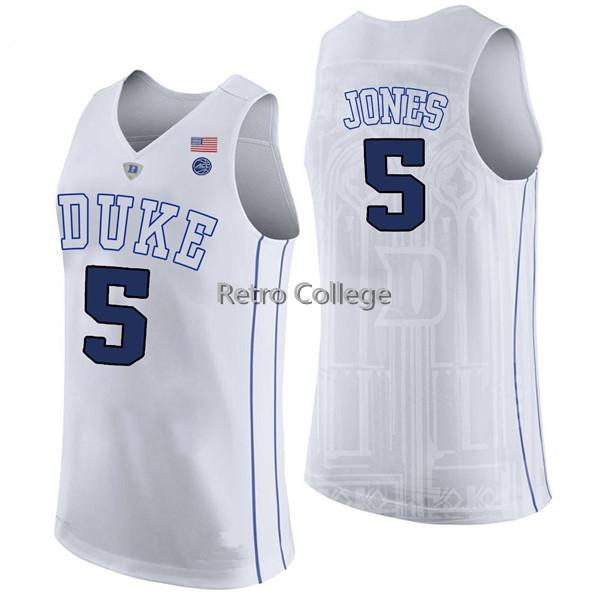 2019 new High Quality #5 Tyus Jones Duke Blue Devils White bule black Mens Basketball Jersey Custom any name and number