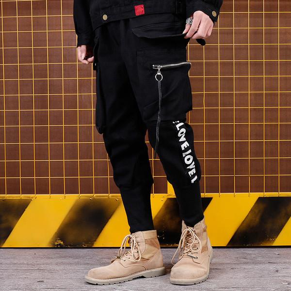 Outono calça casual solto rua hip-hop com zíper strap-on calças letras impresso moda dos homens calça Mens mens sweatpants