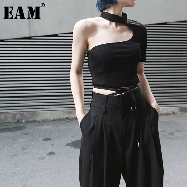 [eam] 2019 new spring summer round neck short sleeve backless irregular brief personality short t-shirt women fashion tide jx391
