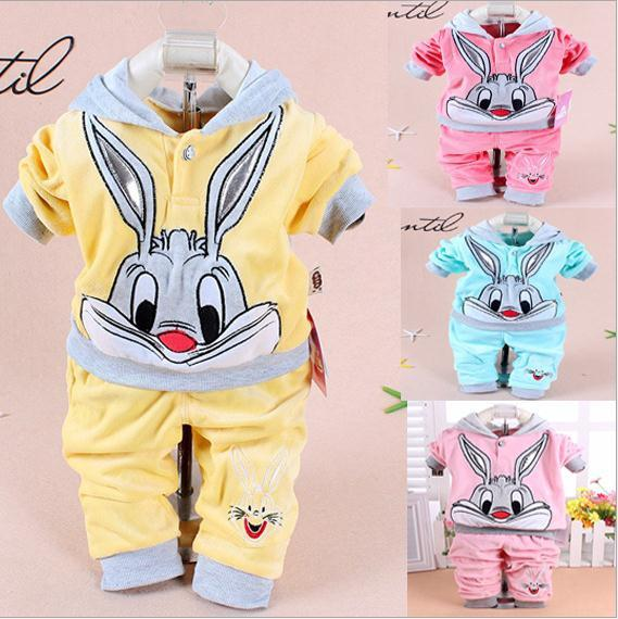 Hot baby clothing set 2015 Spring/Autumn baby's set cartoon rabbit boys girls clothes twinse suits hoodie pant children clothing Y18120303