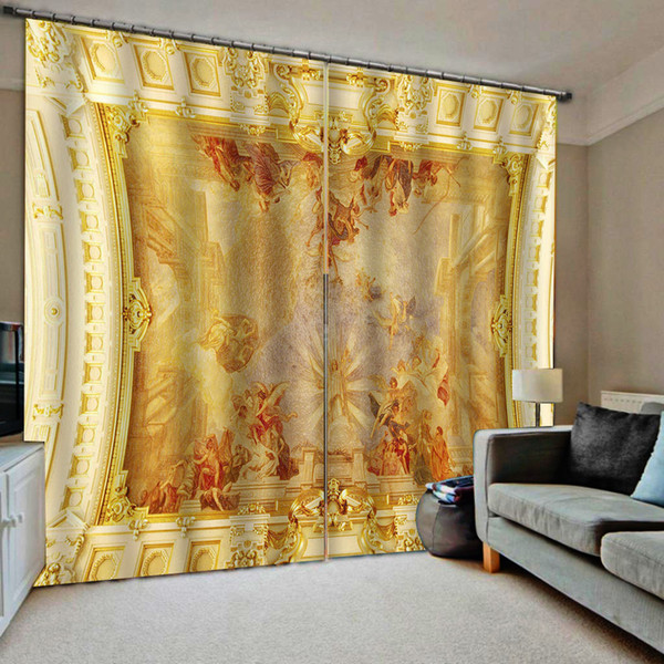 best selling soundproof windproof curtain European 3D Curtains angel design Curtains For Living Room Bedroom gold curtains