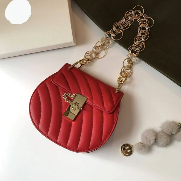 Elegant2019 Leather Luxurious2019 Genuine Winter Piggy Package Ring Chain Decoration Cowhide Single Shoulder Lock Small Bag