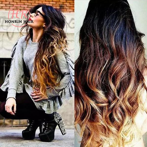 Honrin Cheveux Ombre T1b / 4/27 Perruque Full Lace Ondulée Naturelle Ondulée Préplumée Brésilienne Vierge Perruque Avant de Lacet de Cheveux Humains Blanchie Noeuds