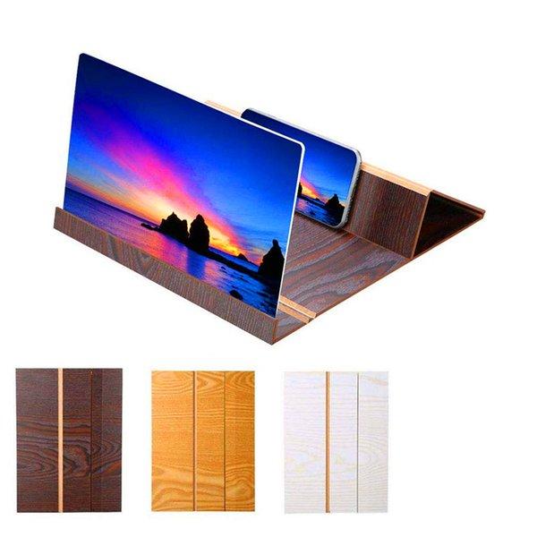 Supports de loupe d'écran vidéo en bois 3D pliable de 12 pouces haute définition cellulaire amplificateur d'écran de téléphone portable Woods grain téléphone mobile