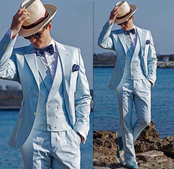 Estilo clássico Dois Botões de Luz Azul Noivo Smoking Notch Lapela Groomsmen Blazer Ternos de Casamento Dos Homens (Jacket + Pants + Vest) CY15