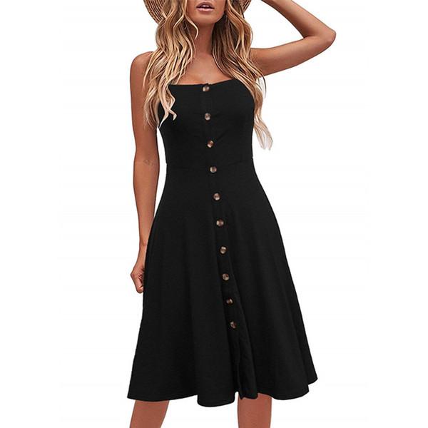 Kadınlar Casual Plaj Yaz Elbiseler Katı Pamuk A-Line Spagetti Kayışı Düğmesi Aşağı Midi Seksi Elbise Sundress