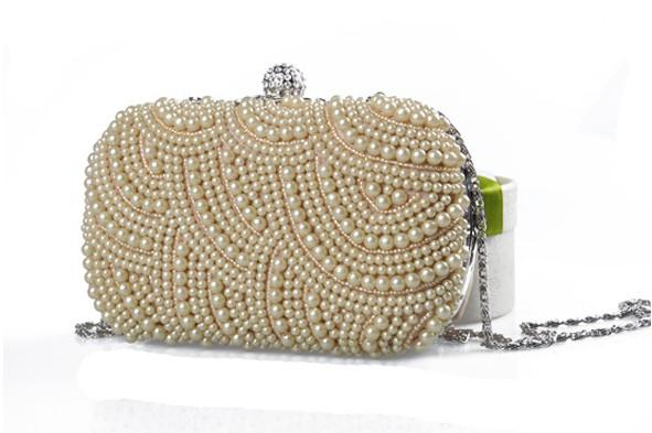 2020 neue Perle Diamant Abendtasche Hochzeit Braut Kupplungen Party Dinner Geldbörse Ketten Handtasche Borsa