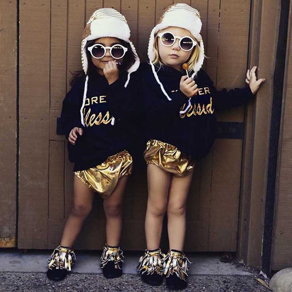 good quality Fashion Baby Girl Clothes 2PCs Letter Print Hooded Tops Pullover Shorts kids clothes girls Clothing Set roupas menina