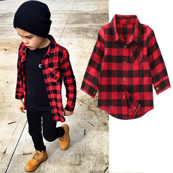 top popular 2019 Baby Kids Boys Girls Long Sleeve Shirt Plaids Red Checks Long Sleeves Tops Blouse Clothes Outfit 1-7Y SS 2021