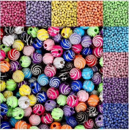 100Pcs/lot 8mm Screw Shiny Acrylic Round Ball Spacer Loose Beads For Jewelry Making DIY Bracelet Necklace Accessories