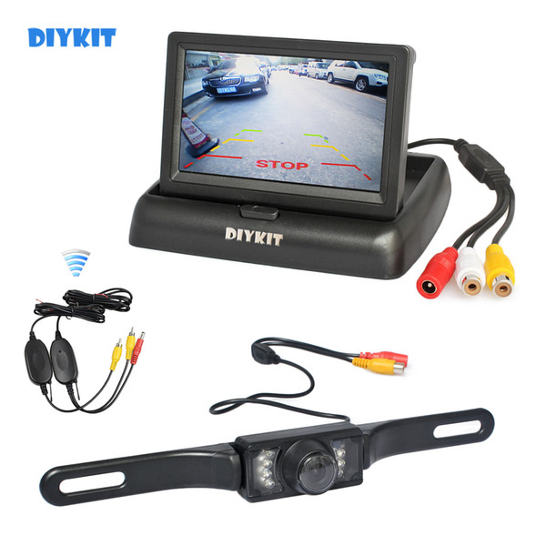 top popular DIYKIT Wireless 4.3inch Car Reversing Camera Kit Back Up Car Monitor LCD Display HD Car Rear View Camera Parking System 2021
