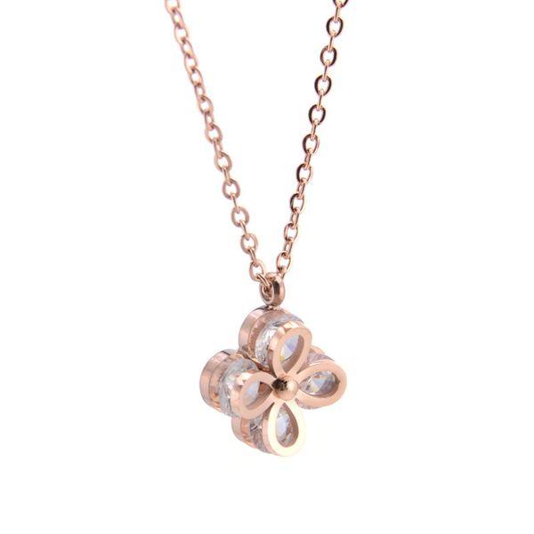 Menina vibrante coração de sorte colar de safira congelado pingente de aço titanium clavícula cadeia luxo rose gold 18 k moda colar