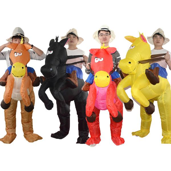 Traje de Cowboy inflável Western Fancy Dress for Men Mulheres mascote Do Cavalo Do Dia Das Bruxas Terno Da Festa de Natal