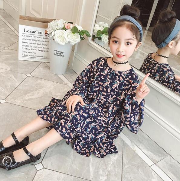 Yeni Kızlar Longuette pamuk Kırık çiçekler Elbise Elbiseler Kız Gelinlik Modelleri Yaz Prenses Elbise en kaliteli 4-20 lw17