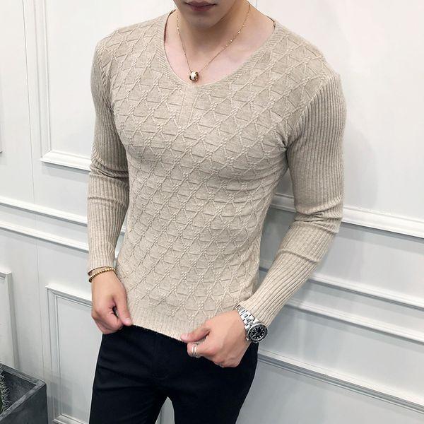 Homens coreanos Camisola Ocasional Nova Marca Slim Fit De Malha Todos Os Combinar Pullovers Roupas Masculinas 2019 Manga Longa V Pescoço Sólida Puxar Homme