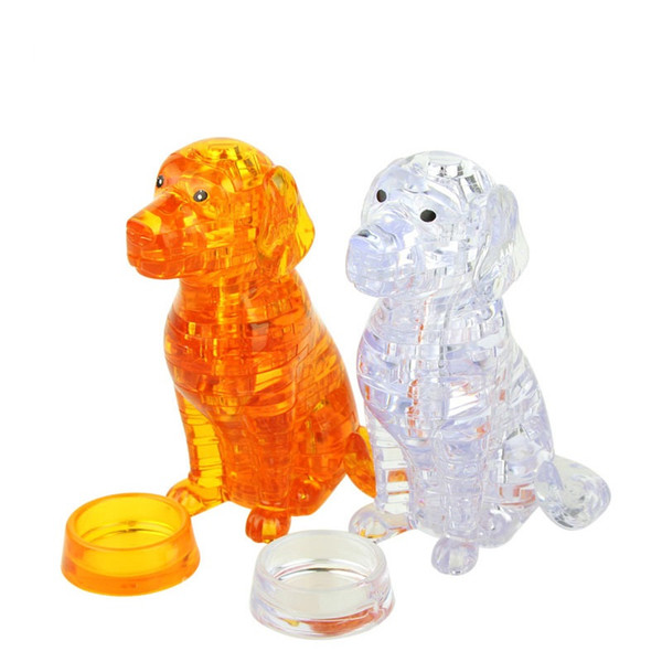 3D crystal jigsaw puzzle Golden Retriever 3D crystal building block puzzle 3D solid crystal dog block puzzle