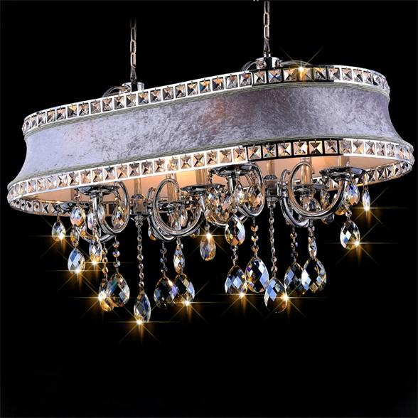 Vintage Ceiling Chandelier with Oval Fabric Lamp Shade Hanging Pendant Light Fixture Home Decor