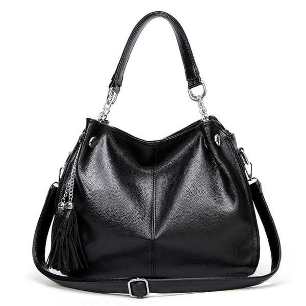 Fashion Female Leather Handbag Luxury Tassel Tote Bag Large Capacity Women Simple Shoulder Bag Korean Style Office Lady Handbag
