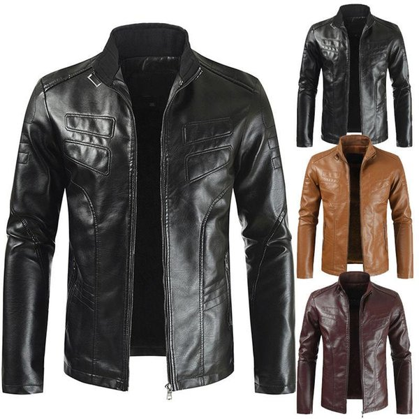 New Designer Mens Leather Jackets Coats Solid Color Jackets Slim Casual Outerwear Stand Collar Mens Apparel
