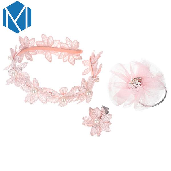 3Pcs Cute Girls Flower Princess Hair Band Accessories Lovely Pearl Headwear Set Sweet Children Hairpins Kids Hair Clip Tie Photo