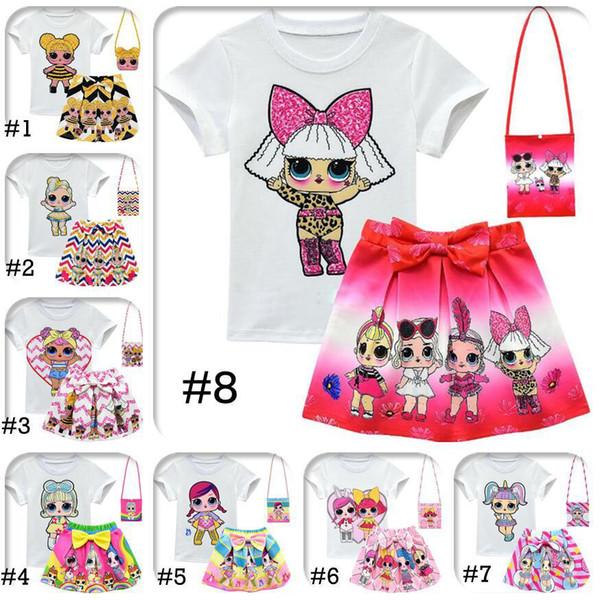 LOL Trajes para niñas 10 Estilo 3-10Y LOL Trajes para niños 3pcs / set camiseta + falda + bolsa LOL Surprise Girls Falda Tee Suit INS Baby Conjunto de ropa de verano
